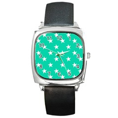 Star Pattern Paper Green Square Metal Watch by Alisyart