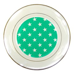 Star Pattern Paper Green Porcelain Plates by Alisyart
