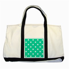 Star Pattern Paper Green Two Tone Tote Bag by Alisyart