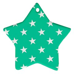 Star Pattern Paper Green Star Ornament (two Sides)