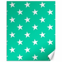 Star Pattern Paper Green Canvas 11  X 14   by Alisyart