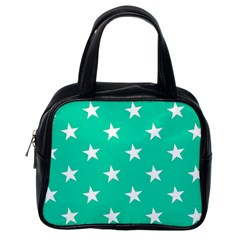 Star Pattern Paper Green Classic Handbags (one Side)
