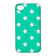 Star Pattern Paper Green Apple Iphone 4/4s Hardshell Case With Stand