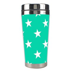 Star Pattern Paper Green Stainless Steel Travel Tumblers by Alisyart