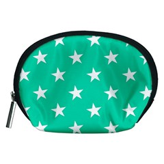 Star Pattern Paper Green Accessory Pouches (medium)  by Alisyart