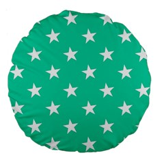 Star Pattern Paper Green Large 18  Premium Flano Round Cushions