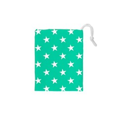 Star Pattern Paper Green Drawstring Pouches (xs)  by Alisyart
