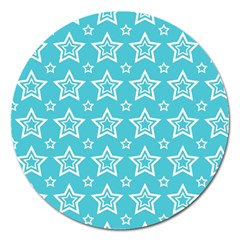 Star Blue White Line Space Sky Magnet 5  (round)