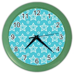 Star Blue White Line Space Sky Color Wall Clocks by Alisyart