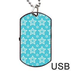 Star Blue White Line Space Sky Dog Tag Usb Flash (one Side) by Alisyart