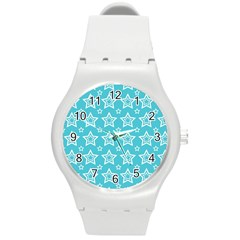 Star Blue White Line Space Sky Round Plastic Sport Watch (m) by Alisyart