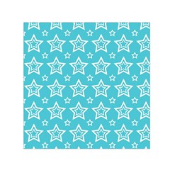 Star Blue White Line Space Sky Small Satin Scarf (square)