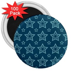 Star Blue White Line Space 3  Magnets (100 Pack) by Alisyart