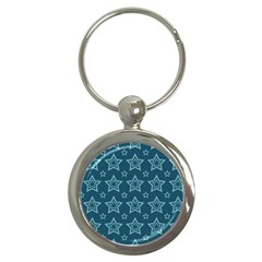 Star Blue White Line Space Key Chains (round)  by Alisyart