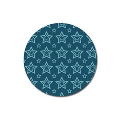 Star Blue White Line Space Magnet 3  (round)