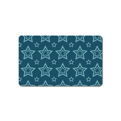 Star Blue White Line Space Magnet (name Card) by Alisyart