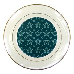 Star Blue White Line Space Porcelain Plates