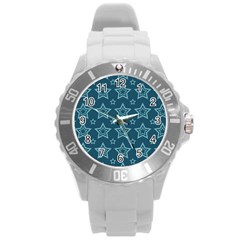 Star Blue White Line Space Round Plastic Sport Watch (l) by Alisyart