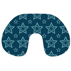 Star Blue White Line Space Travel Neck Pillows