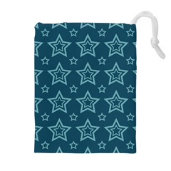 Star Blue White Line Space Drawstring Pouches (extra Large) by Alisyart