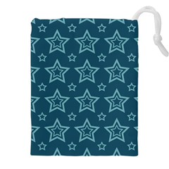 Star Blue White Line Space Drawstring Pouches (xxl) by Alisyart