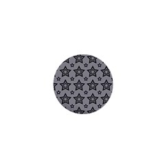 Star Grey Black Line Space 1  Mini Buttons
