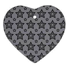 Star Grey Black Line Space Ornament (heart) by Alisyart