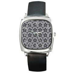 Star Grey Black Line Space Square Metal Watch by Alisyart