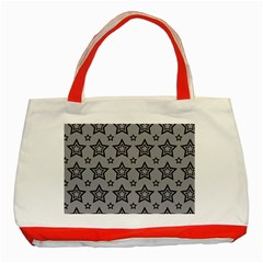 Star Grey Black Line Space Classic Tote Bag (red)
