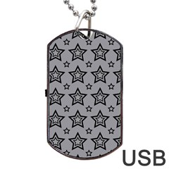 Star Grey Black Line Space Dog Tag Usb Flash (one Side) by Alisyart