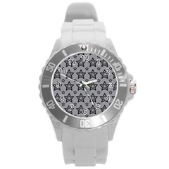 Star Grey Black Line Space Round Plastic Sport Watch (l)