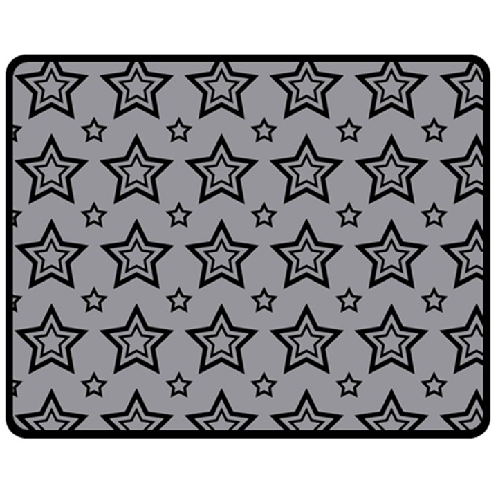 Star Grey Black Line Space Double Sided Fleece Blanket (Medium)