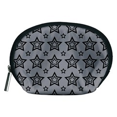 Star Grey Black Line Space Accessory Pouches (medium)  by Alisyart