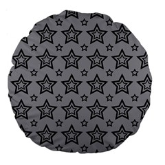 Star Grey Black Line Space Large 18  Premium Flano Round Cushions by Alisyart