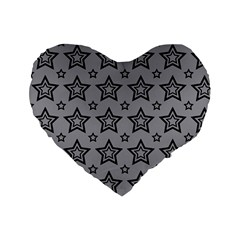 Star Grey Black Line Space Standard 16  Premium Flano Heart Shape Cushions by Alisyart