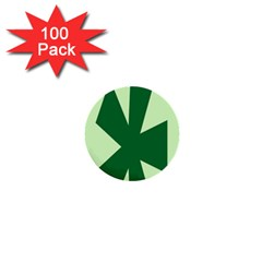 Starburst Shapes Large Circle Green 1  Mini Buttons (100 Pack)  by Alisyart