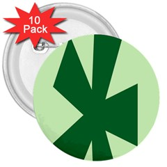 Starburst Shapes Large Circle Green 3  Buttons (10 Pack)