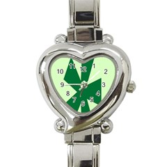 Starburst Shapes Large Circle Green Heart Italian Charm Watch by Alisyart