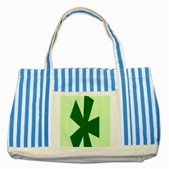 Starburst Shapes Large Circle Green Striped Blue Tote Bag