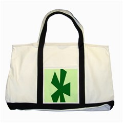 Starburst Shapes Large Circle Green Two Tone Tote Bag