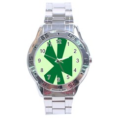 Starburst Shapes Large Circle Green Stainless Steel Analogue Watch by Alisyart