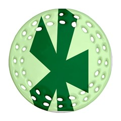 Starburst Shapes Large Circle Green Round Filigree Ornament (two Sides)