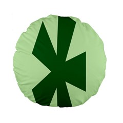 Starburst Shapes Large Circle Green Standard 15  Premium Flano Round Cushions by Alisyart