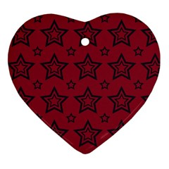 Star Red Black Line Space Heart Ornament (two Sides)