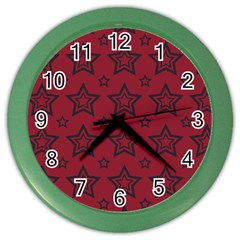 Star Red Black Line Space Color Wall Clocks by Alisyart