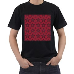 Star Red Black Line Space Men s T Shirt (black)