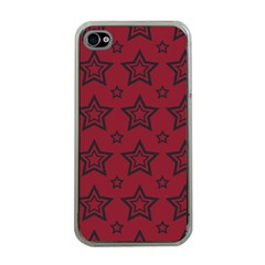 Star Red Black Line Space Apple Iphone 4 Case (clear)