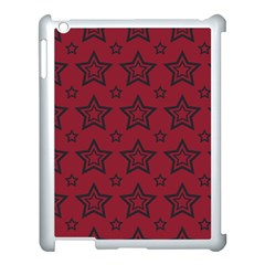 Star Red Black Line Space Apple Ipad 3/4 Case (white)