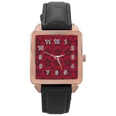 Star Red Black Line Space Rose Gold Leather Watch  by Alisyart
