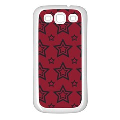 Star Red Black Line Space Samsung Galaxy S3 Back Case (white)